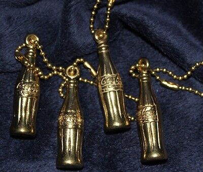 Set Of 4 Coca Cola  Bottle Shaped Gold Tone Key Rings~ Free Shipping