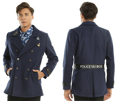 bd2d6a324c5a4 new Doctor Who embroidered TARDIS peacoat coat jacket BBC mens S NWT MSRP   99.90