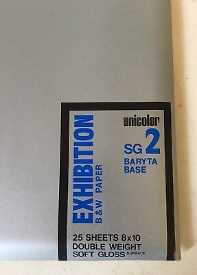 Vintage Sealed Unicolor Exhibition SG 2 Baryta Base B&W Paper 8x10 (25 sheets)