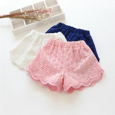 Baby Kids Girls Lace Hollow Floral Shorts Casual Beach Short Pants Trousers 2-7Y