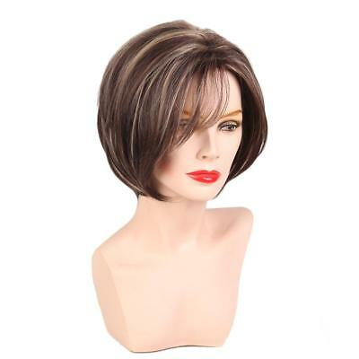 High Quality Women Short Straight 100% Real Human Hair Wigs with Cap Brown
