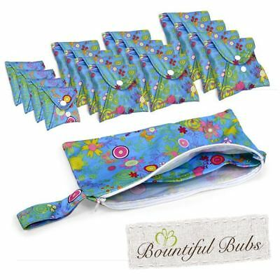 Washable, Reusable Bamboo Cloth Pads Deluxe Pack. Summer Garden, Bountiful Bubs