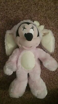 """Disney Store Minnie Mouse Easter Bunny Plush Pink & Yellow 14"""" (Discontinued)"""