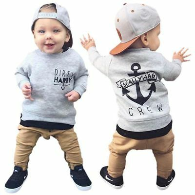 2pcs Toddler Kids Baby Boys Long Sleeve T-shirt Tops+Pants Outfits Clothes Set