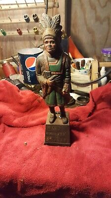 Old Honesty Cigar Store Indian Cast Iron Antique Replica Still Bank