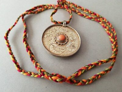 GORGEOUS ANTIQUE Ottoman SILVER medallion with Coral and GILDING XIXth century