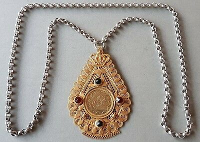 GORGEOUS ANTIQUE SILVER hand knitted filigree medallion with Ottoman GOLD COIN
