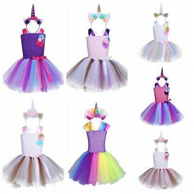 Girl Kid Tutu Rainbow Dress Up Princess Hair Hoop Outfit  Cosplay Fancy Costumes