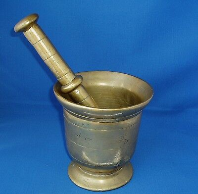 Antique 18thC Century Brass Apothecary Mortar & Pestle.  Very Large & Heavy