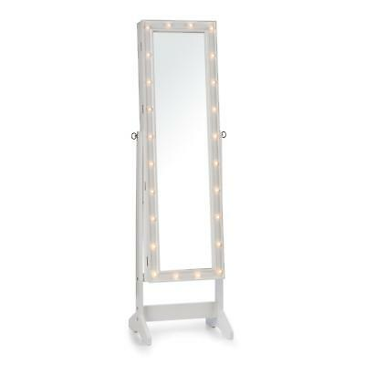 Jewellery Cabinet Free standing Wooden LED Swivel Mirror Large Storage Furniture