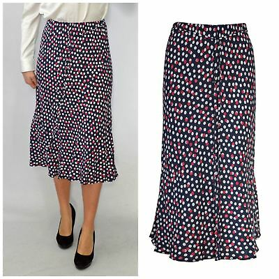 Ladies Navy White and Red Spotted Tie Waist Midi Skirt from Marks & Spencer