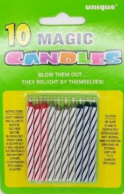 Magic Candles Pack Of 10 Assorted Color Blow Them Out They Relight By Themselves