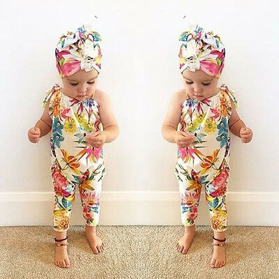 Summer Infant Newborn Baby Girl Floral Romper Jumpsuit Outfit Sunsuit Clothes UK