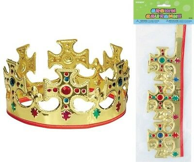 "Gold Majestic/kings Crown 56Cm/22"" Fancy Dress Party Costume Accessory"