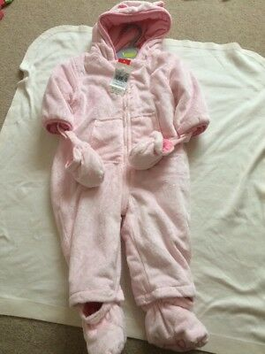 BRAND NEW Pink Fluffy Snowsuit/ Pram Suit 9-12 Months Baby Girl From TU