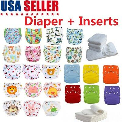 Baby Diapers & Inserts Adjustable Reusable Baby Washable Cloth Pocket Nappies US