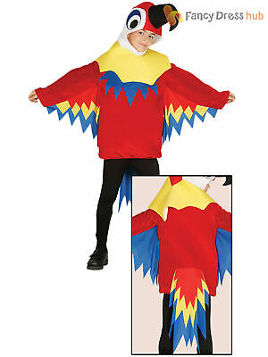 Childs Parrot Costume Boys Girls Animal Bird Fancy Dress Hawaiian Novelty Outfit