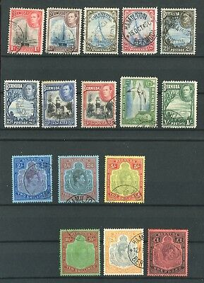 Bermuda KGVI 1938-52 definitive set of 16 to £1 fine used