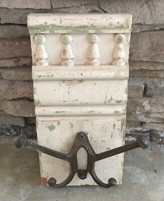 Victorian Architectural Salvaged Chippy Wood Pediment Wall Rack ~ Soft Pink