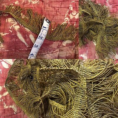 Antique French 1800s Gold Metal Metallic Fringe Passementerie Trim 100""