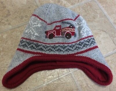 Janie And Jack Baby Boys Gray Red Fire Truck Hat 0-6 Months
