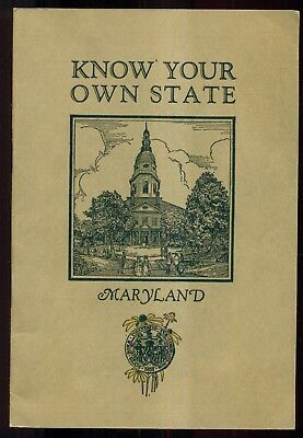 """1925 Standard Oil Co. Know Your Own State """"Maryland"""" Booklet with Flier"""