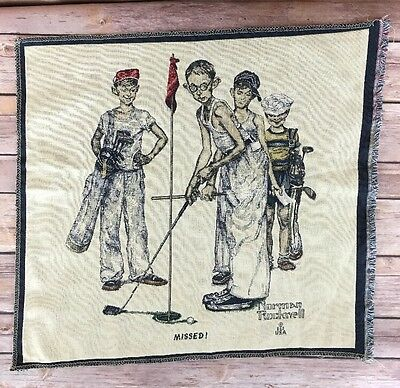 """Norman Rockwell Golf  Missed 18"""" Wall Art Tapestry Craft Fabric"""