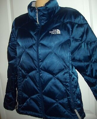 The North Face~Gorgeous  Blue SATIN goose/feather Puffer Jacket sz Med