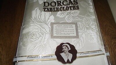Dorcas Floral Pattern Tablecloth In Unused Condition. 54 X 54 Inches In Ivory.