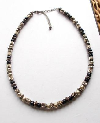Vintage 70's Silver Tone Metal Beads Black Glass Beaded Necklace