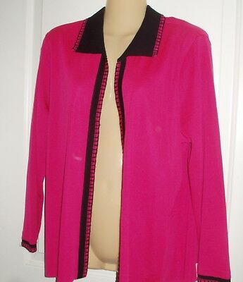 Ming Wang~ Lovely pretty in Pink and Black stylish trimmed Jacket sz LG