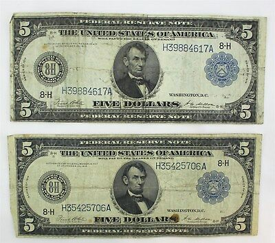 Two US Federal Reserve $5 Dollar Notes Large Bills Series 1914 White & Mellon