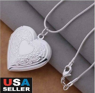 925 Sterling Silver Snake Chain Necklace, Locket Heart Photo Pendant 18""