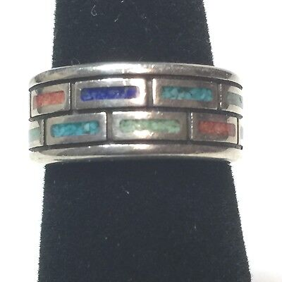 SIGNED WJ Sterling Silver Multi Color Vintage Ring Band 8.5g Size 6 Designer
