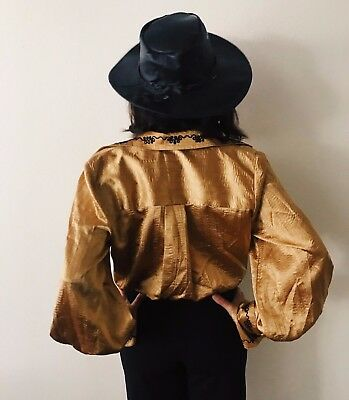 Vintage Jeanne Marc Gold with Black Embroidery Top with Bell Sleeves and Cuff