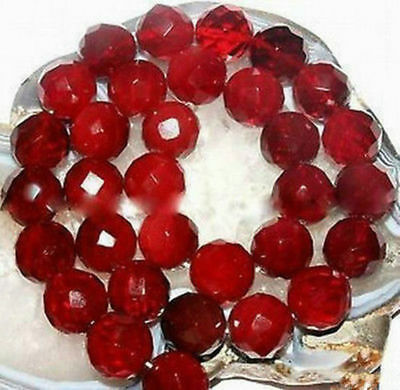 AAA+++ 6/8/10mm Faceted Natural Red Ruby Gemstone Round Loose Beads 15''