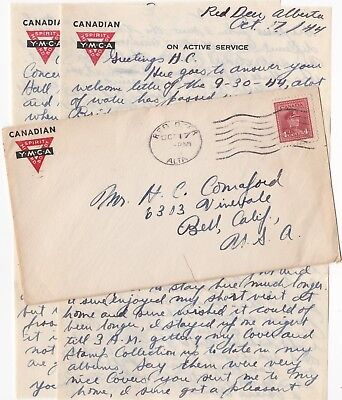 1944 Canadian Ymca Soldier's Letter, On Active Service, Red Deer Alberta, Canada
