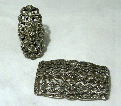 Lot of Two Pcs Art Deco Vintage Sterling Silver & Marcasite Large Brooch & Ring
