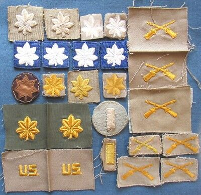 "WWII+ USA & USAF embroidered ranks, ""U.S.,"" & Infantry officer branch insignia"