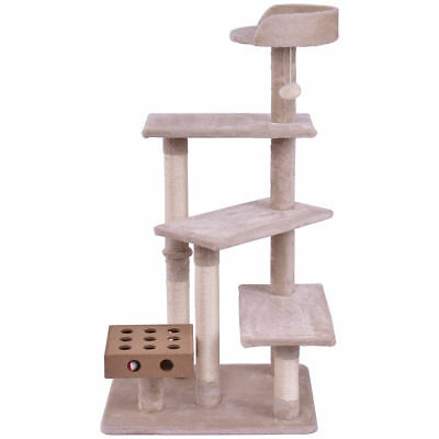Beige Cat Kitten Tree Play House Tower Condo Bed Scratch Post Tower Perch Toy