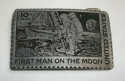 Vintage United States 10c Air Mail Stamp Belt Buckle First Man on the Moon Space