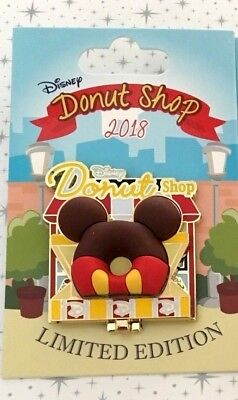 Disney Parks 2018 Pin of the Month Disney Donut Shop Mickey Mouse LE 3000
