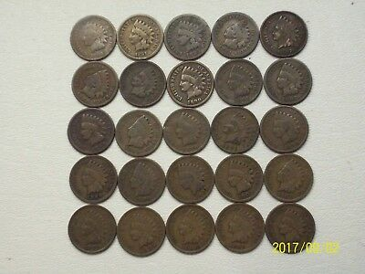 25 Different Indian Head Cents 1880-1908! G To F+ Condition!
