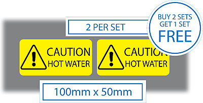 2 x Caution Hot Water Stickers Vinyl Self Adhesive Decals 100x50mm Safety Signs