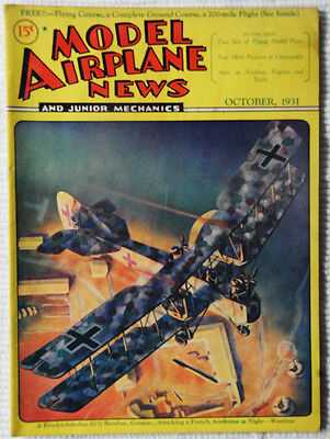 Model Airplane News Magazine October 1931 Fabulous Cover Graphics  must see