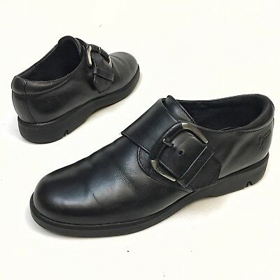 Women's ECCO Monk Strap Black Leather Shoes Buckle Loafers-Size Eu 39/Us 8