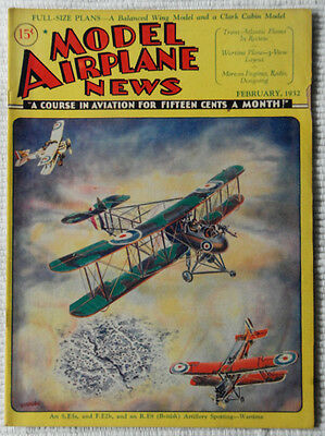 Model Airplane News Magazine February 1932 Fabulous Cover Graphics  must see