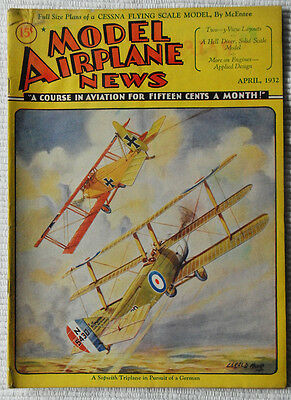 Model Airplane News Magazine April 1932 Fabulous Cover Graphics  must see