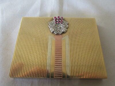 Superb Vintage Asprey Art Deco 9ct gold ruby and diamond powder compact