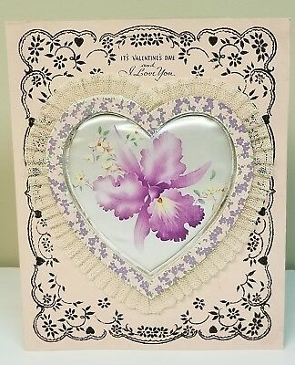 Vintage Valentine Greeting Card 1940's Glitter Satin Lace Heart Used With Box Lg